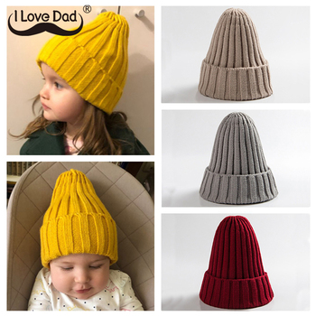 Girl's Knitted Solid Color Beanie Hat 1