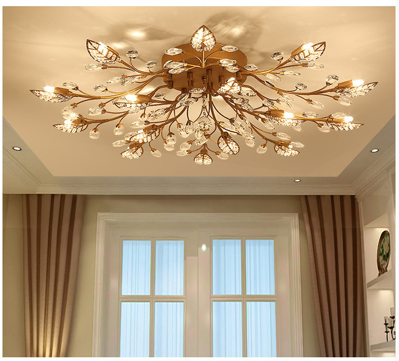 Ha691dd3cca06423eac56e13644ff2884e Modern ceiling light for living room led Crystal ceiling lamp bedroom crystal lamps dining gold loft lighting Crystal Fixtures