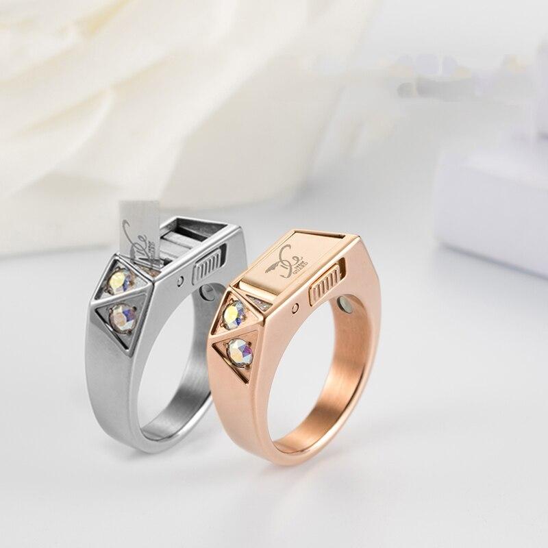 Anti-loup anneau titane acier défense anneau mode caché auto-défense accessoires