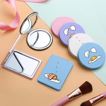 Cartoon Magnifying Makeup Mirrors with Double Side for Girls Cute Egg PU Portable Folding Compact Pocket Cosmetic Vanity Mirror portable double sided folding cosmetic mirror female gifts with flowing sparkling sand mini makeup mirror compact pocket mirrors