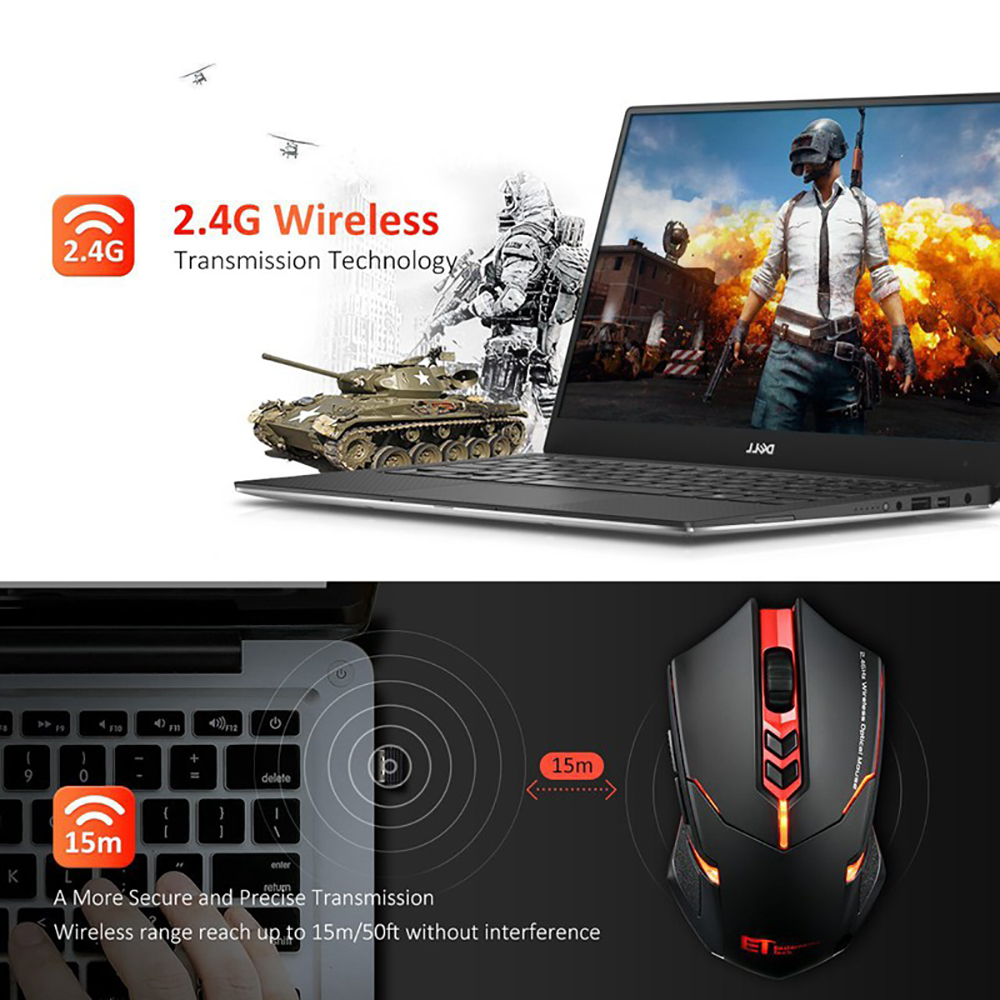 2400 DPI Wireless Gaming Mouse w// Unique Silent Click Optical for PC Laptop Mac