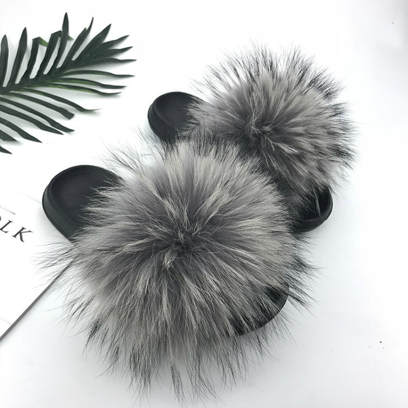 Women Fur Slides Summer Shoes Home Woman Luxury Furry Slippers Indoor Female Sandals Fluffy Cute Raccoon 2019 New Plus Size 2