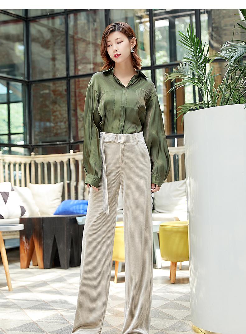 Corduroy Wide Leg Pants Women 19 Autumn Pleuche High Waist Casual Loose Full Length Pants Korean Palazzo Plus Size Trousers 2