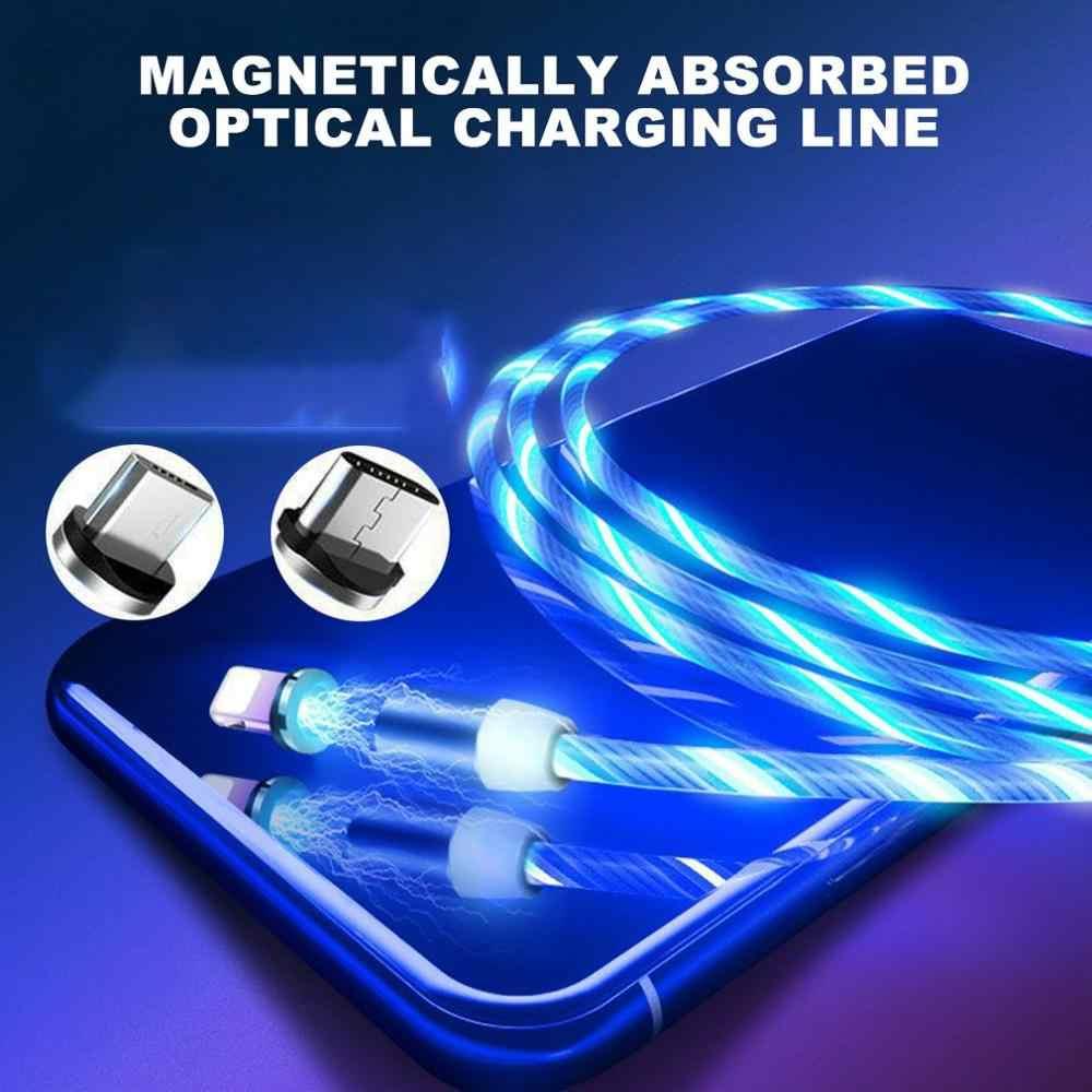 Okrągłe magnetyczne Streamer linia danych magiczny blask nocy komórkowy kabel do ładowania telefonu dla Apple Android typu c