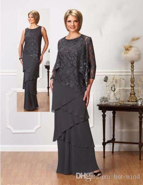 Elegant Mother Of The Bride Suits Sparkly Sequins Sheath Chiffon Tiered Skirts With Jacket For Weddings Mothers Dresses BA9543