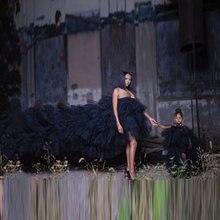 Милое черное Тюлевое платье с высоким низом для мамы и дочки