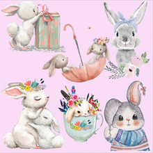 Cute Bunny Rabbit Patch Heat Transfer Vinyl Iron On Transfer For Clothes Cartoon Badge Ironing Stickers Applique A Level