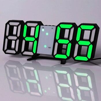 Led Digital Wall Clock Modern Design Watch Clocks 3D Living Room Decor Table  Alarm Nightlight Luminous Desktop 14