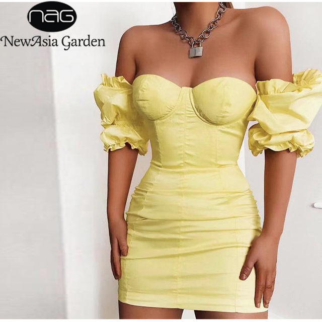NewAsia Puff Sleeves Bodycon Dress Women 2019 Summer Vintage Push Up Party Dress Yellow Sexy Corset Padded Pencil Dress Mini