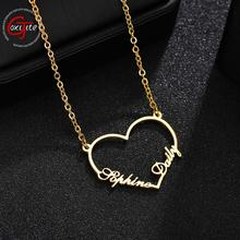 Goxijite 2019 Fashion Custom Stainless Steel 2 Name Heart Necklace For Women Personalized Letter Gold Choker Necklace Gift