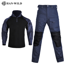 HAN WILD Outdoor Airsoft Paintball Clothing Military Uniform Tactical Combat Camouflage Shirts Cargo Pants Elbow Knee Pads Suits
