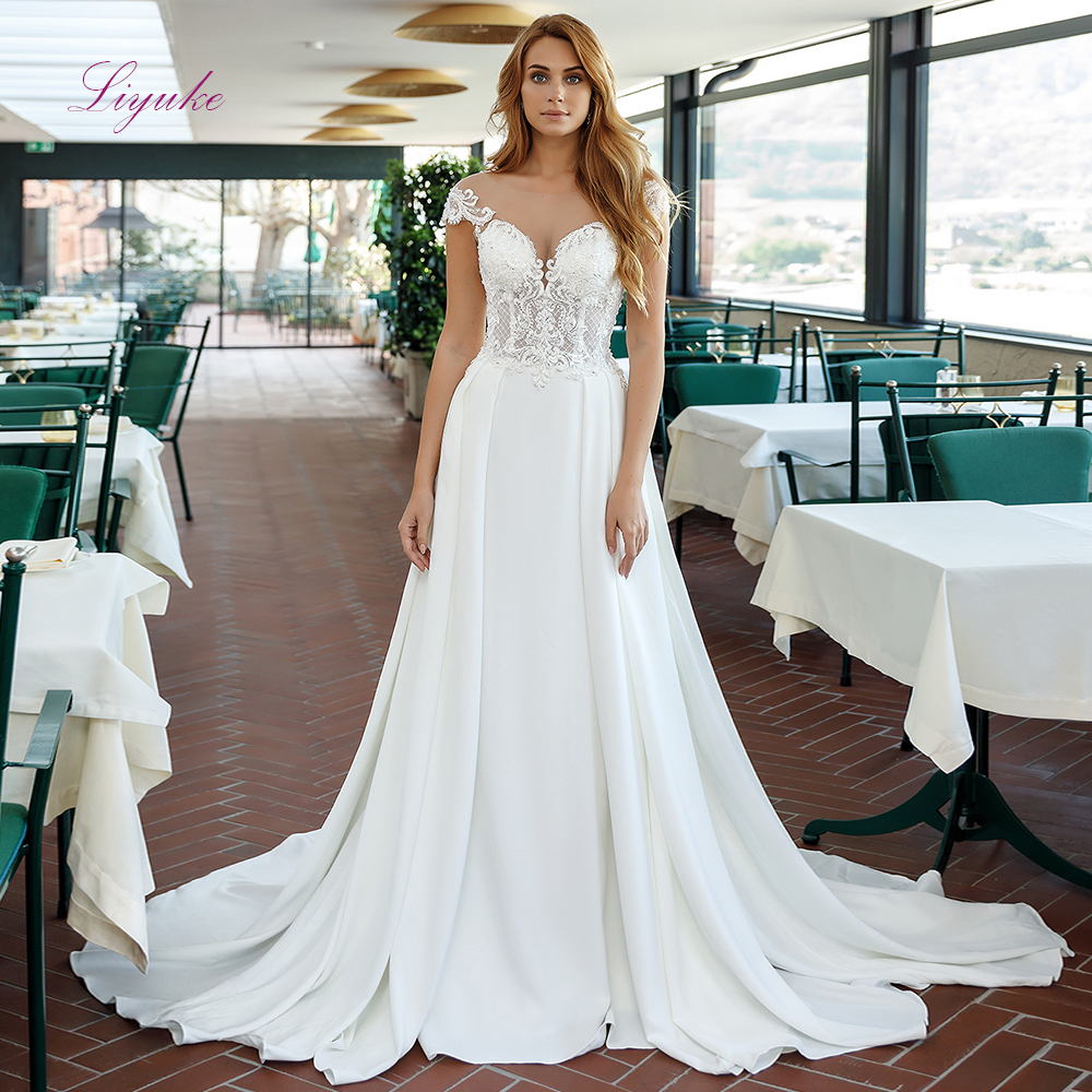 Liyuke 2019 Married Wedding Dress A-line Lace Up Beading Appliques Sleeveless With Chapel Train Customized