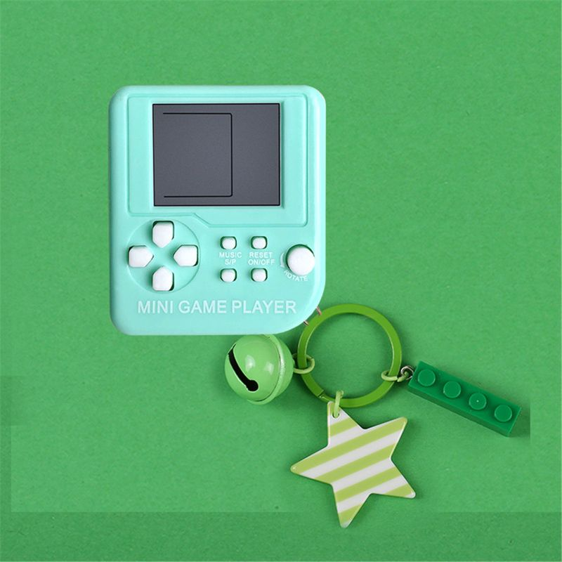 Warm Color Mini Tetris Children Handheld Game Console Gift Key Chain Pendent K1MA