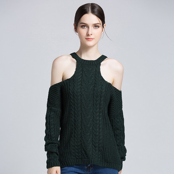 Sexy Cold Sleeve Knitted Women Sweaters Fashion Full Sleeve Solid O-Neck Oversized Pullover Ladies Thick Autumn Winter Jumper фото