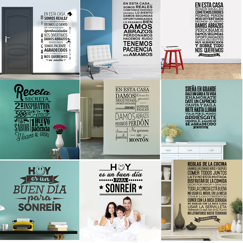 Removable Viny Wall Stickers Spanish Famous Quote Inspiring Phrase Wall Decals Sticker Home Decor Wall Poster For Living Room