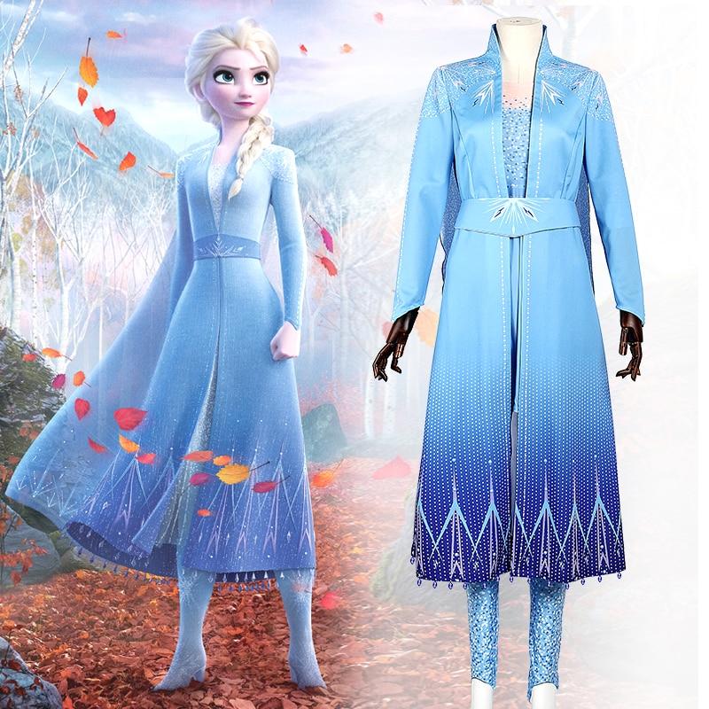 2020 New Movie Queen Elsa Costume Snow Ice Princess Cosplay Adult Kid Halloween Carnival Party Elsa Anna Dress Custom Made