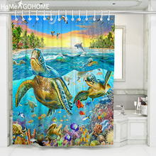 3D Bathroom Bath Shower Curtain Turtle Psychedelic Ocean Landscape Moldproof Waterproof Fabric douchegordijn New