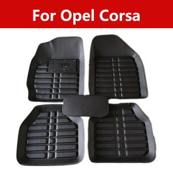 Car Interior Floor Mats Foot Pad Leather Cover Accessories For Opel Corsa 5pc Full Set Carpet Floor Mats image