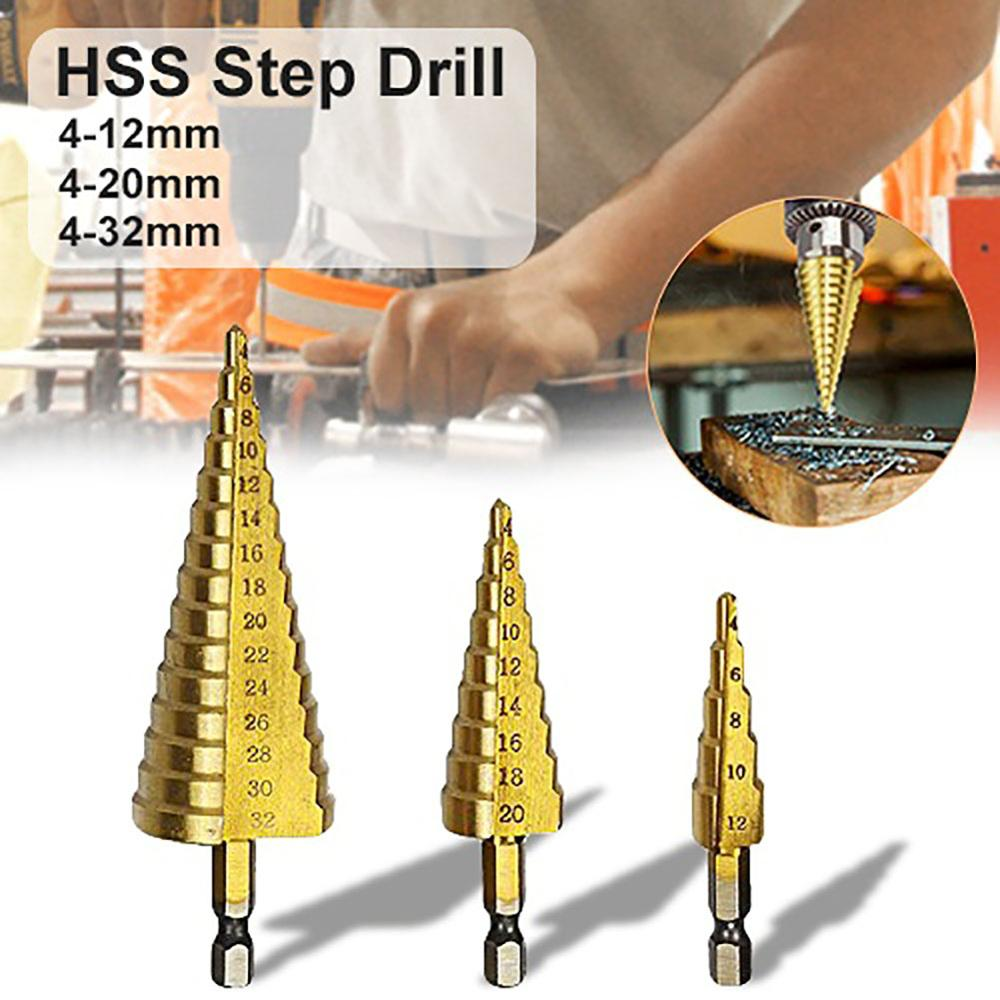 HSS 4-12/20/32mm Step Cone Step Drill Bit Drilling Power Tools Coated Titanium Drill Bit For Woodworking Wood Hole Cutter Cone