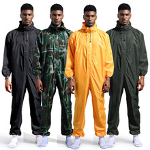 Waterproof Overalls Hooded Rain Coveralls Work Clothing Dust proof Paint Spray Unisex Raincoat Workwear Safety Suits S XXXL