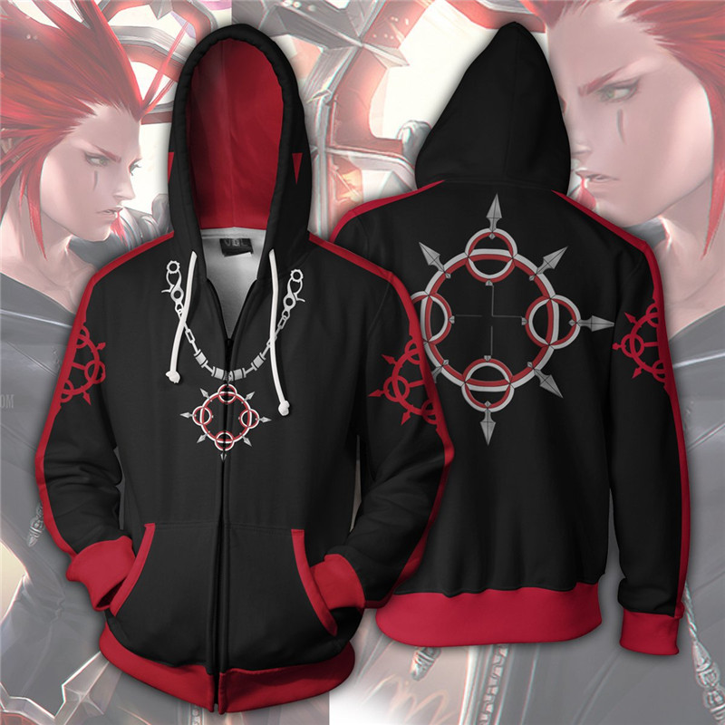 Black-red Overcoat Couple Halloween Hooded Sweatshirts For Men&women Long Sleeve Loose Anime Kingdom Hearts Cosplay Costume image