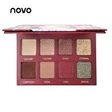 NOVO Brand 8 Color Matte Shimmer Eyeshadow Palette Red Nude Pigment Waterproof L