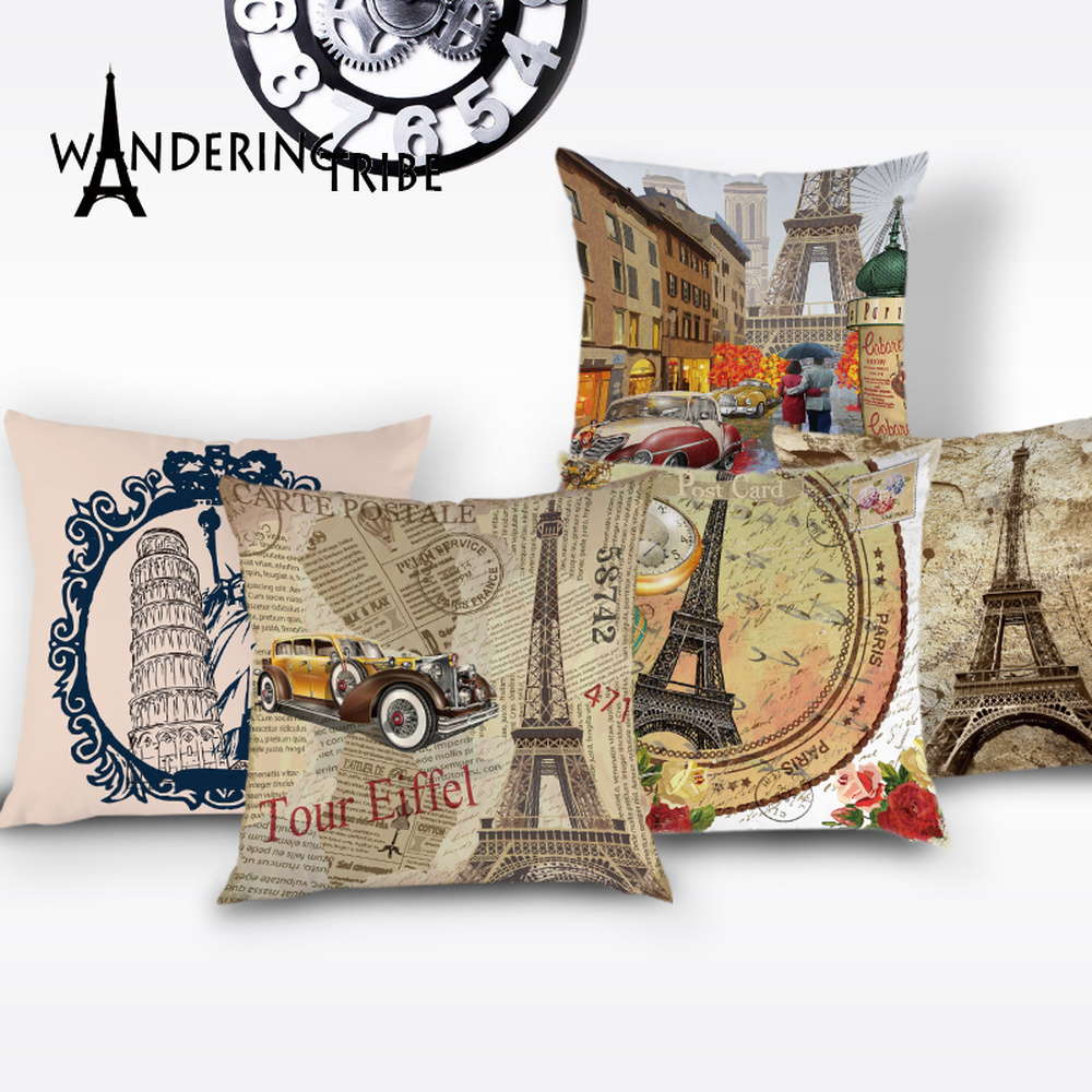France Paris Cushion Cover Colorful Vintage Throw Pillow Case Flower Tower Lovely Cushions Covers Home Sofa Scenic Pillowcases