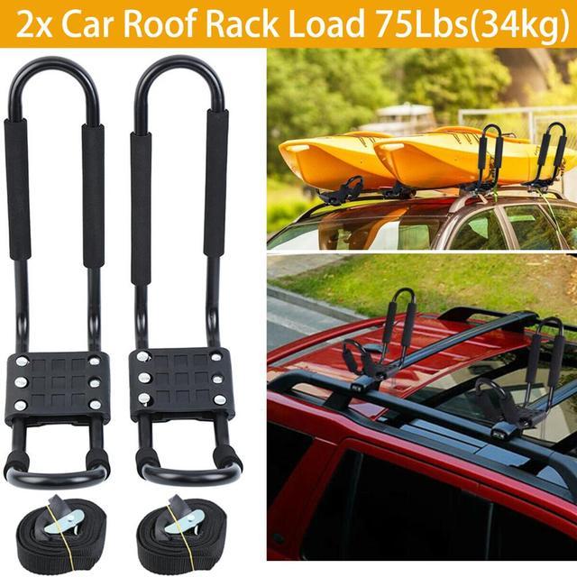 2x Автомобильный багажник на крышу, открытый J БАРС, багажник на крышу для сноуборда, Каяка, регулируемые ремни, универсальный черный для путешествий, RV Camper Caravan