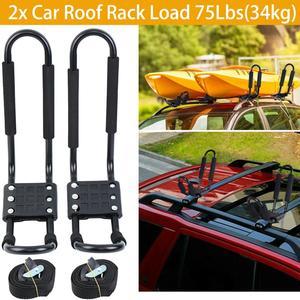 Image 1 - 2x רכב גג Rack חיצוני J ברים גג מתלה סנובורד קיאק מתכוונן Carrier רצועות אוניברסלי שחור עבור נסיעות RV Camper קרוון