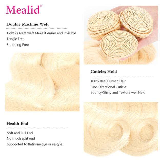 Mealid 613 pelo rubio miel 3 4 mechones con cierre brasileño onda del cuerpo cabello humano tejido con cierre extensiones de cabello Remy