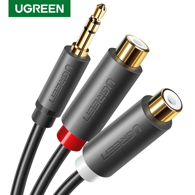 UGREEN 3.5MM mâle à 2 RCA femelle Jack câble Audio stéréo adaptateur Y adaptateur AUX pour haut-parleur dordinateur 3.5 câble Jack RCA