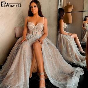 Вечерние платья с пайетками, длинное платье А-силуэта с вырезом в форме сердца, бретельки-спагетти, сексуальное платье с разрезом, платье дл...