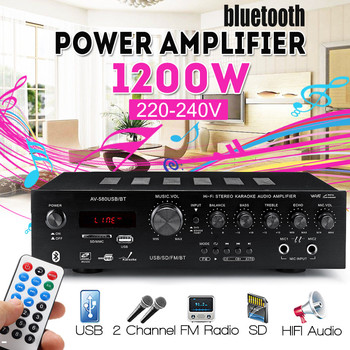 1200W HIFI Audio Power Amplifier Stereo Home Theater Amplifiers Audio WIth Remote Control Support USB SD Card bluetooth FM Radio