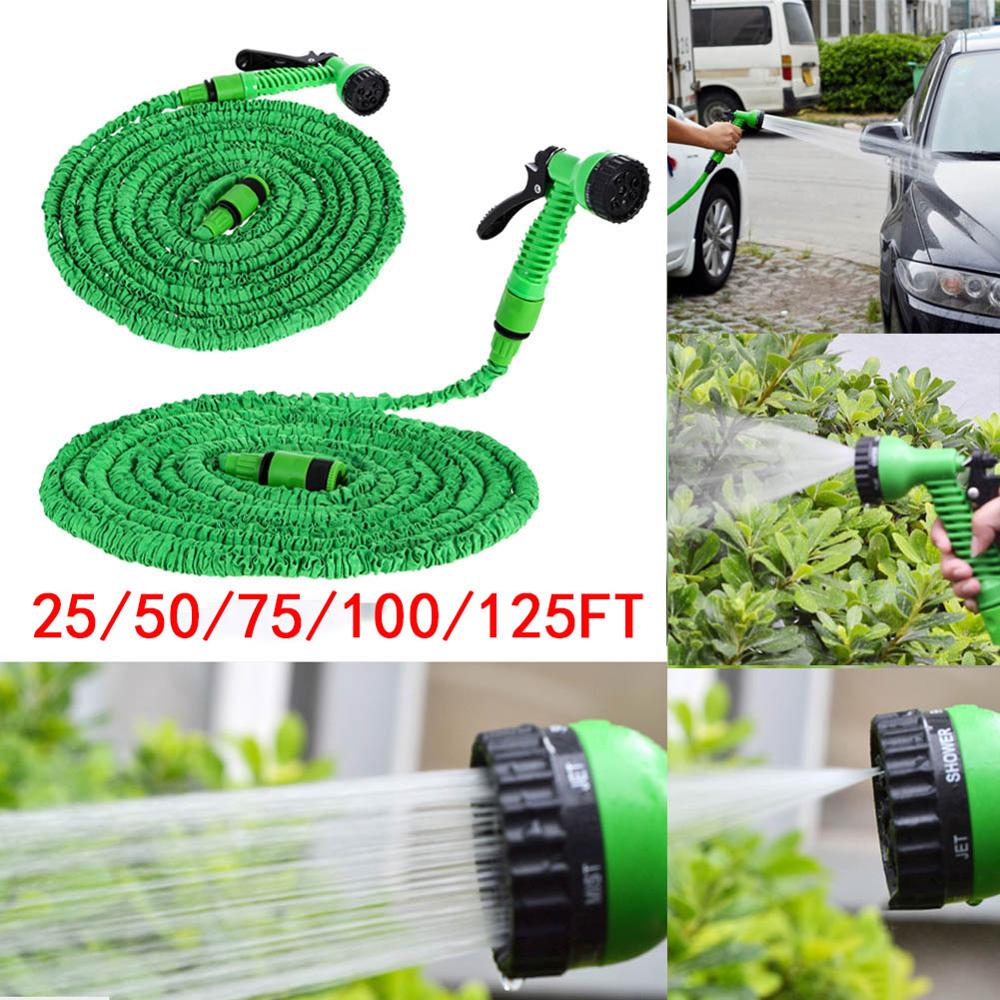 25 50 100 150 200FT Water Magic Hose Pipe Expanding Expandable Flexible Water Hoses Green Pipe Watering Spray Gun for Car Garden
