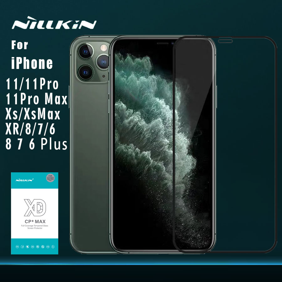 for iPhone 11 11 Pro 11 Pro Max XR XS XS Max 8 7 Plus Glass Nillkin XD CP+ Max Full Cover 3D Tempered Glass for iPhone 11 Glass Phone Screen Protectors     - title=