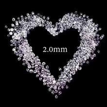 2.0mm serbest moissanit yaklaşık 35 adet FG renk Lab elmas gevşek boncuk yuvarlak parlak kesim 0.03ct testi pozitif