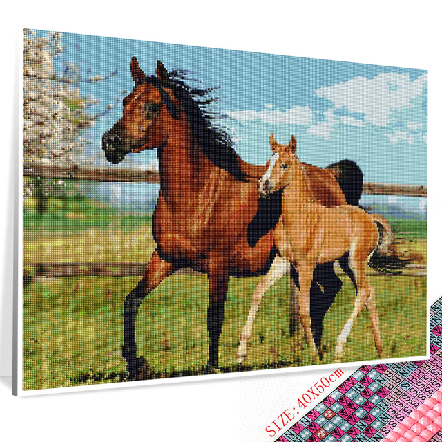 Huacan 5D DIY Diamond Painting Horse Full Square Diamond Embroidery Mosaic Animal Art Kit Decorations Home