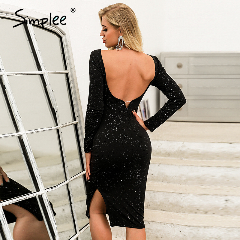 Simplee Bodycon Sexy Dress Elegant Black Lady Spring O-neck Long Sleeve Dress Backless Solid Sequin Midi Party Highstreet Dress
