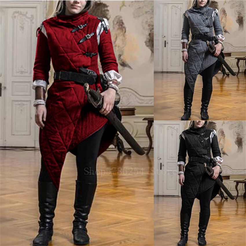 Adult Women Medieval Viking Pirate Larp Costume Vintage Leopold Gambeson Knight Cosplay Tuxedo Oblique Jacket Battle Hero Tunic