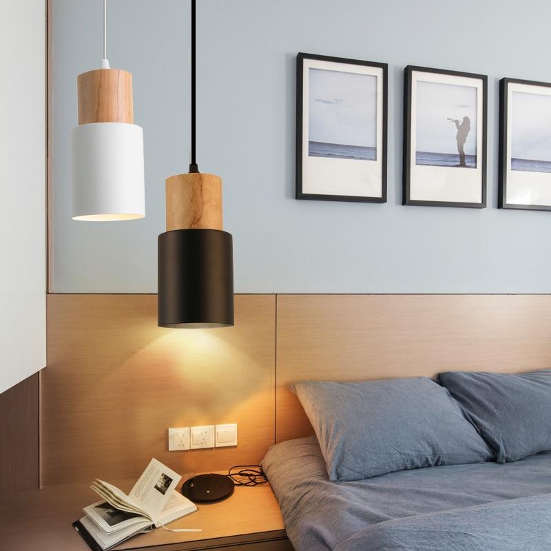 Pendantlightingforkitchenisland Mini Small Black Woodwhite Oaks Modern Bedsidelamp Cocina Accesorio Lampade A Sospensione