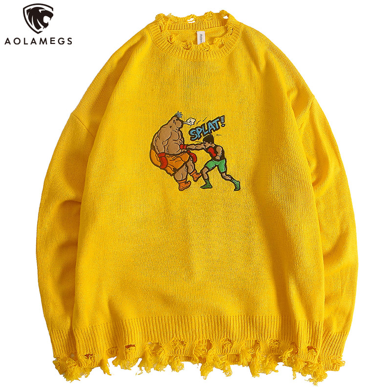 Aolamegs Sweater Men Funny Cartoon Embroidery Mens Pullover Broken O-neck Hip Hop Style Knitted High Street Autumn Streetwear
