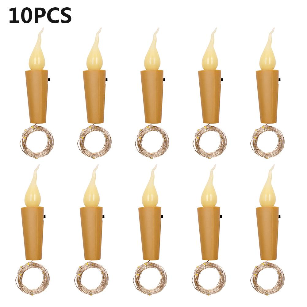 10PCS 2M 20 LED Candle String Light Wine Bottle Mini Flame Cork Lamp Holiday Decoration Light Home Bar Valentine Christmas