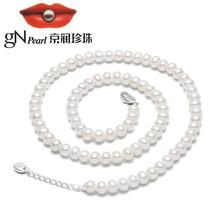 Gn pérola real branco natural água doce redonda 6-7mm pérola colares correntes gargantilha 40cm + 3cm gnpearl jewerly fino para mulher
