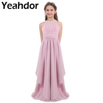 Pageant Wedding Little Bridesmaid Dresses Chiffon Sleeveless Pleated Sequined Halter Kids Girls Birthday Party Princess Dress - discount item  38% OFF Wedding Party Dress