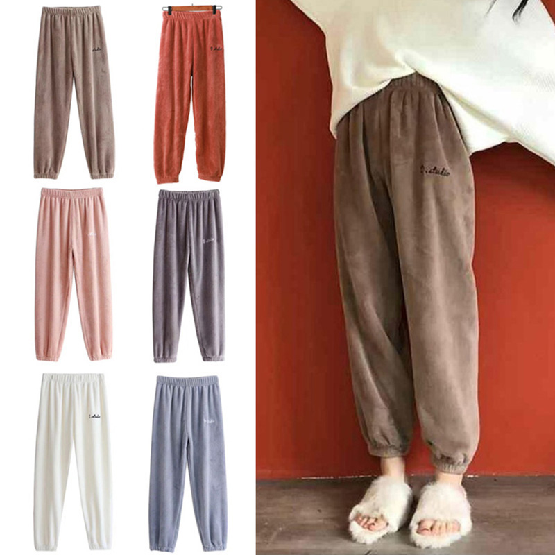 Spring Autumn Winter Sleep Bottom Women Plush Long Pants Homewear Pajamas Soft Warm Femme Flannel Fashion Thick Sleepwear
