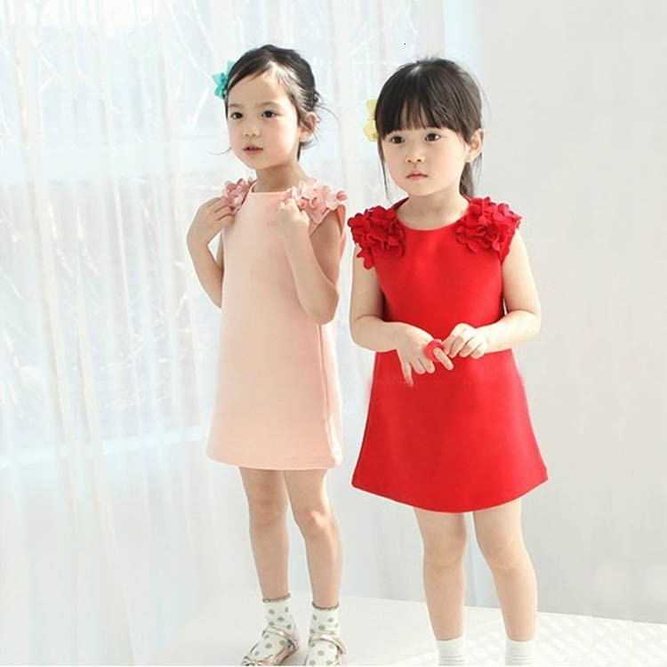 Ha69441bcb35f4424a712aa7c7494625en Kids Dresses Girls 2017 New Fashion Sweater Cotton Flower Shirt Short Summer T-shirt Vest Big For Maotou Beach Party Dress