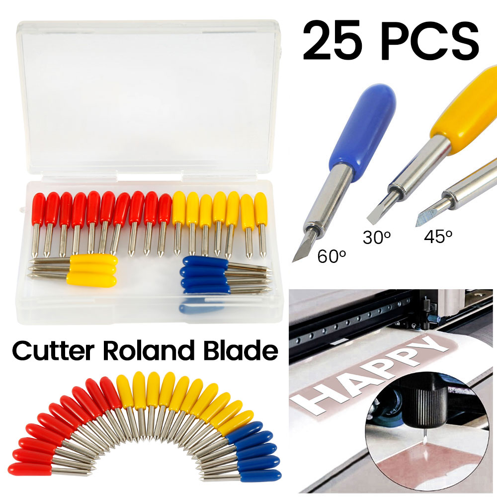 Image 2 - 25pcs 30 45 60 Degree Roland Cricut Cutting Plotter Vinyl Cutter Knife Blades Offset Cricut Machine Milling Cutter Router Bit-in Milling Cutter from Tools