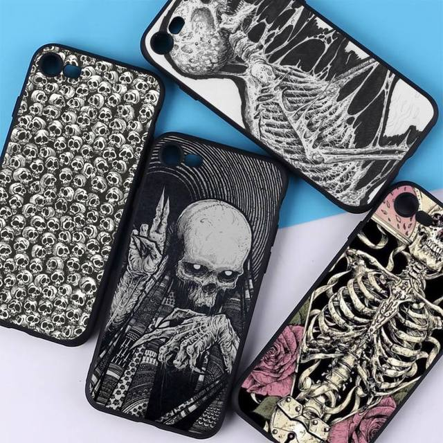 YNDFCNB Gothic Fashion Skull Phone Case for iPhone 11 12 pro XS MAX 8 7 6 6S Plus X 5S SE 2020 XR cover