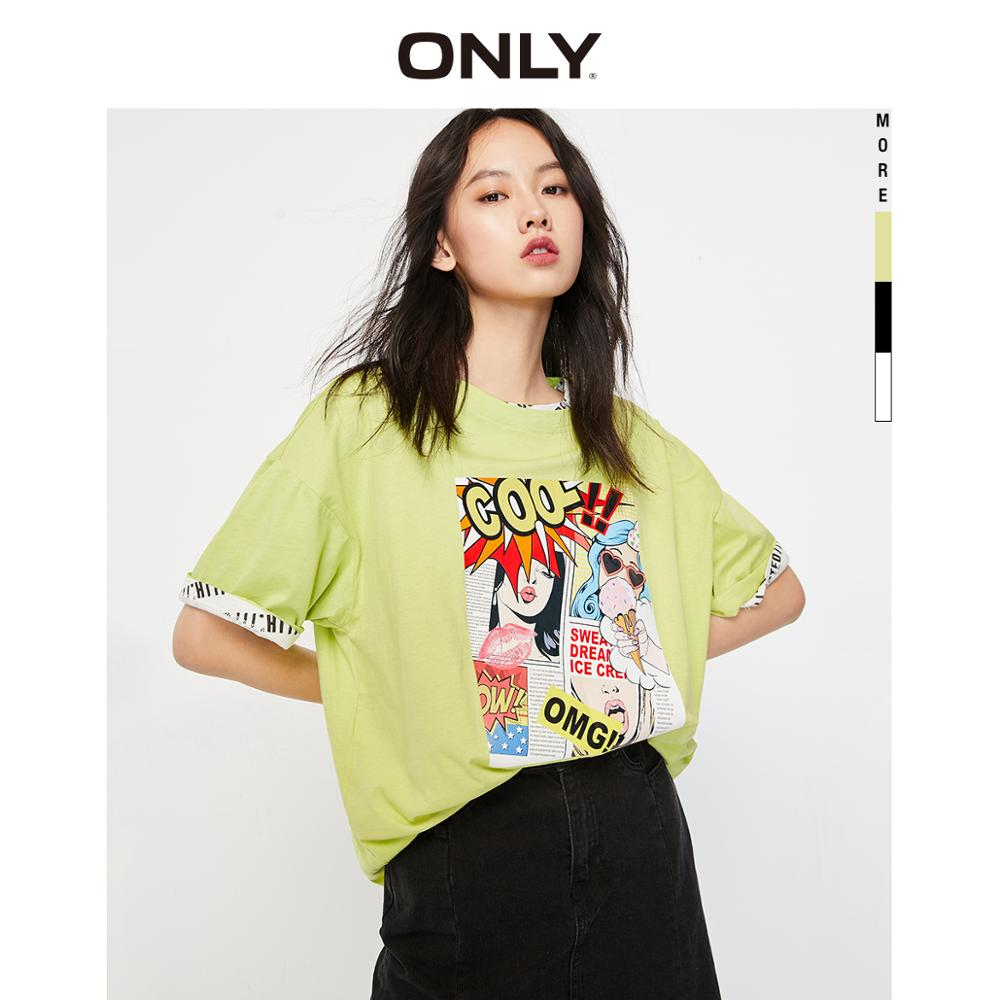 ONLY  Loose Fit Drop-shoulder 100% Cotton Cartoon Print Short-sleeved T-shirt | 12019S607