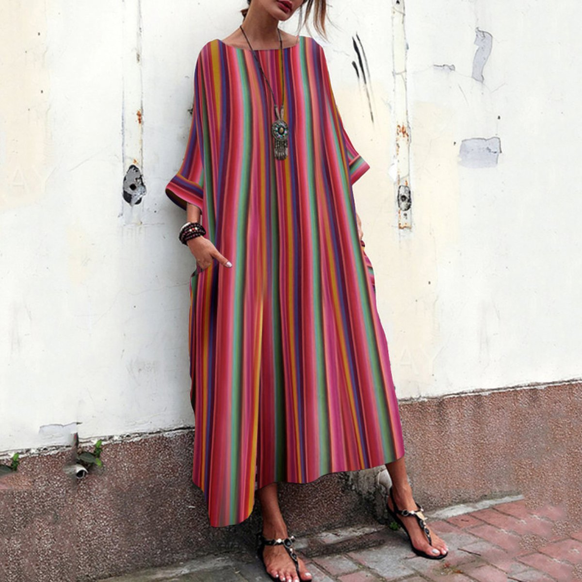 Oversized Ethnic-style Comfortable Loose Striped Crew Neck Women Dress With Pockets Colorful Stripe Printed Bohemian Dress Long